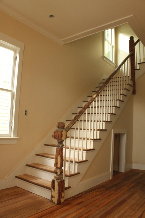 638 Rutledge, original stair and hall restored, with some additional storage beneath.