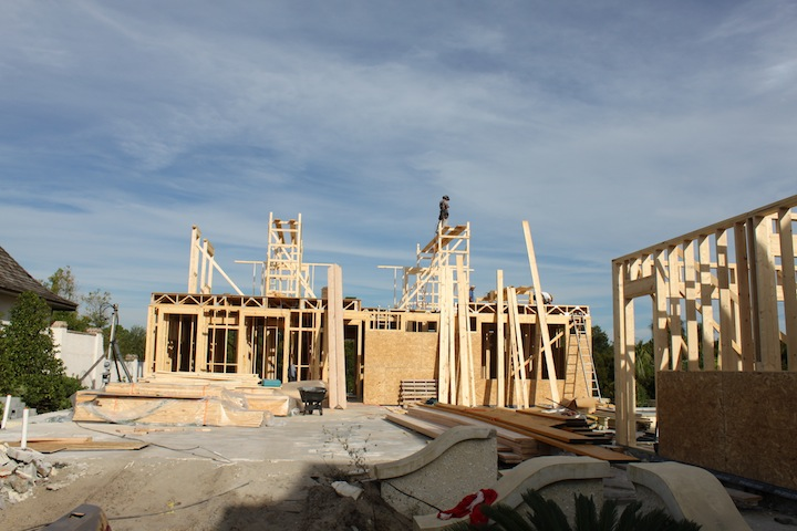 Cassique residence framing underway at Kiawah Island
