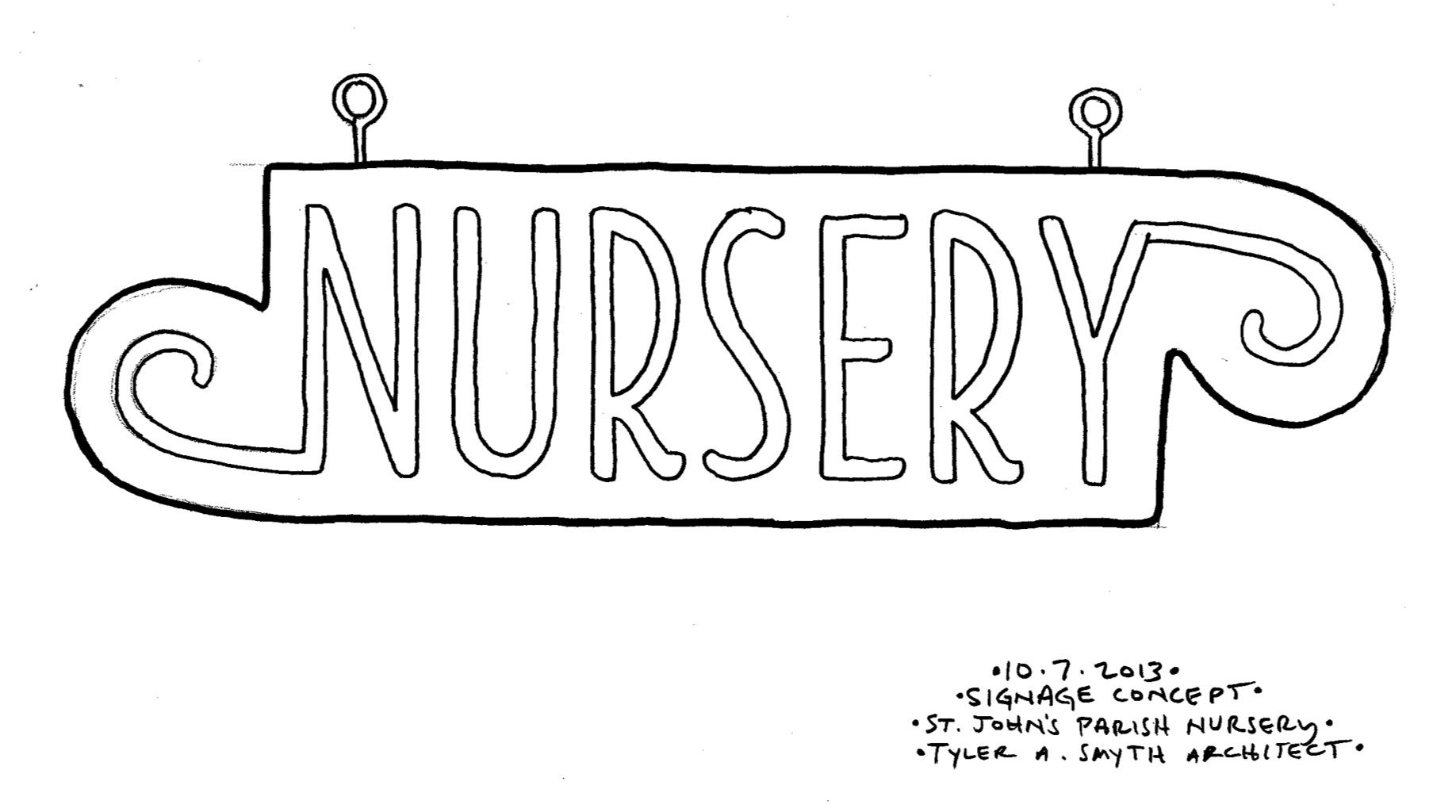 Hanging sign concept for St. John's Parish Church Nursery.
