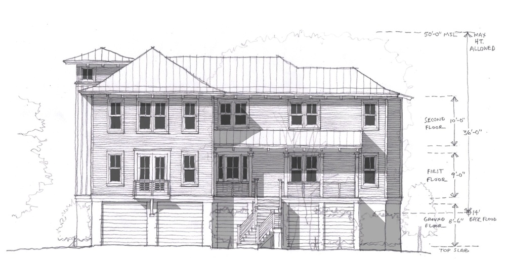 Front Elevation Of New Seabrook Island Residential Design