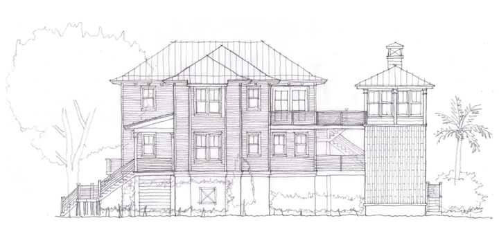 East elevation of new Seabrook Island residence, with summer house and infinity edge pool/spillway to the right.