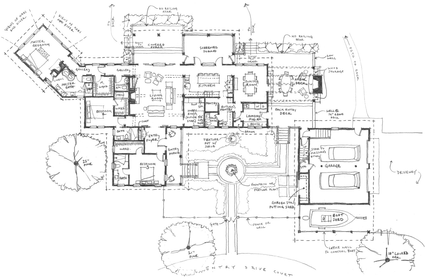 Conceptual floor plan for riverfront residence on Johns Island.