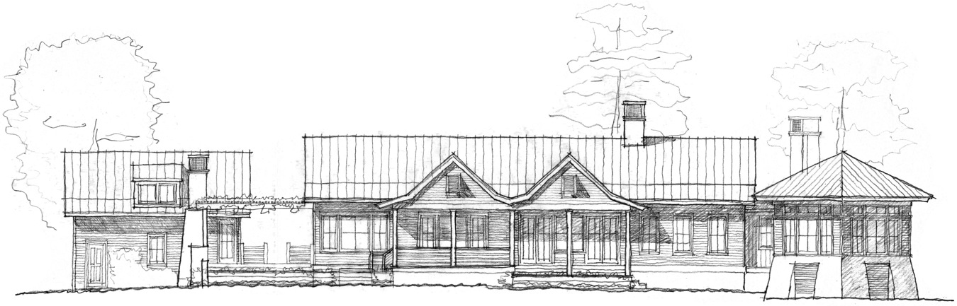 Rear Elevation of new residence designed for a five acre riverfront site on the Stono.