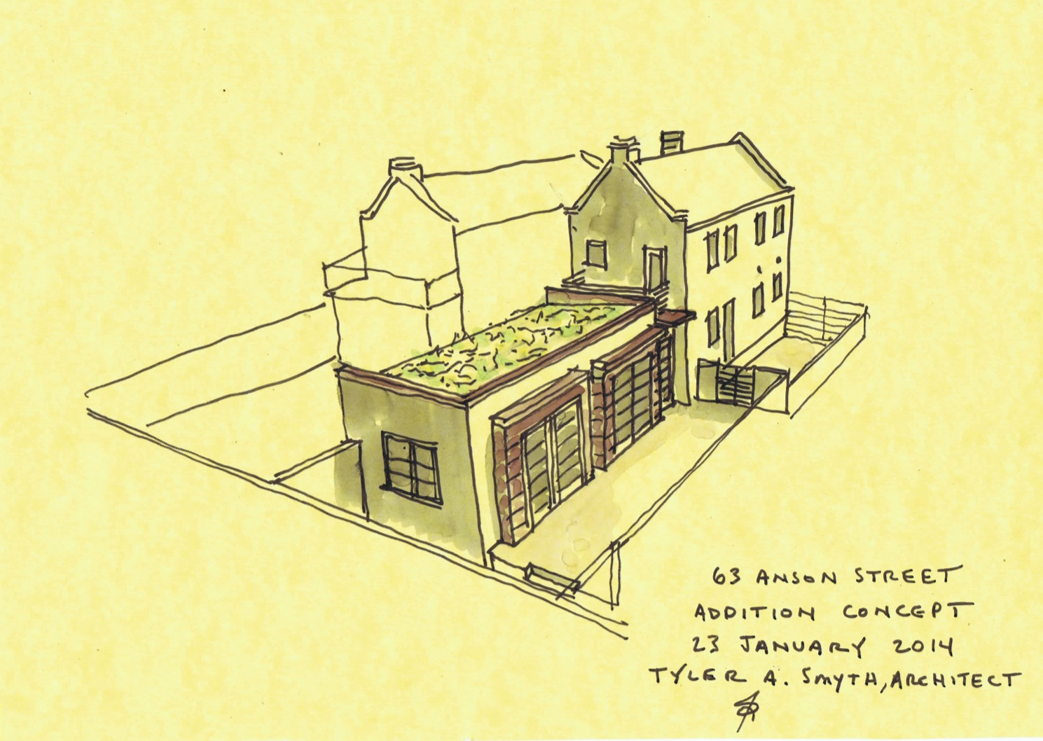 Addition concept for 19th Century Ansonborough dependency; a parapet wall makes reference to the existing structure while accommodating green roof.