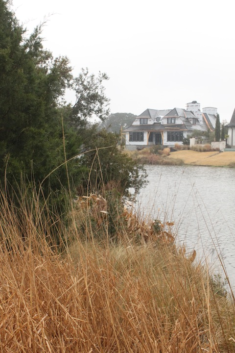 Cassique Residence in progress from across the lagoon.