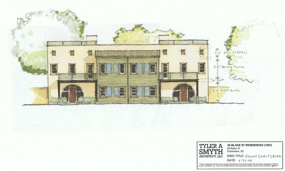 Front elevation of two new homes designed for the rear of an Eastside property near Hampstead Square.