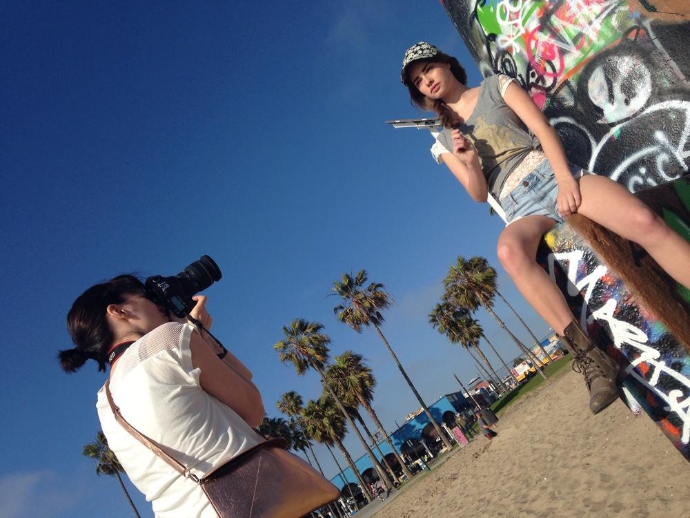 Samantha shooting Gaby Haugh with LA Models