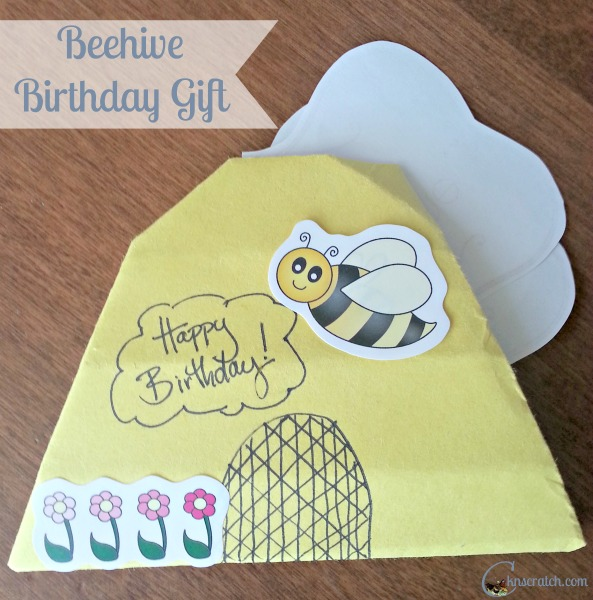 Love this origami beehive gift idea!
