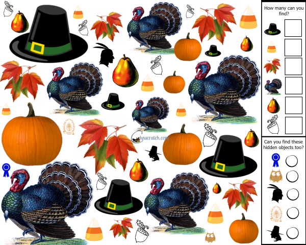 Love this Thanksgiving Search and Find! So fun for the kids table! (FREE)