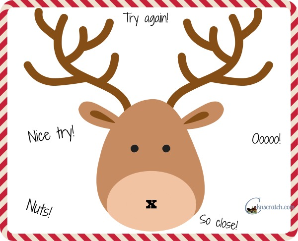 Quick Pin the Nose on the Reindeer Game to print