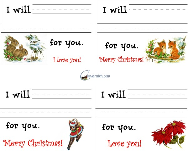 Give the gift of love and service this Christmas. Fill out these cute cards to hand out on Christmas or make into a booklet.