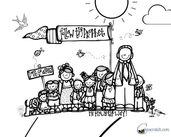 How cute! Follow the Prophet coloring page to go with Behold Your Little Ones lesson!