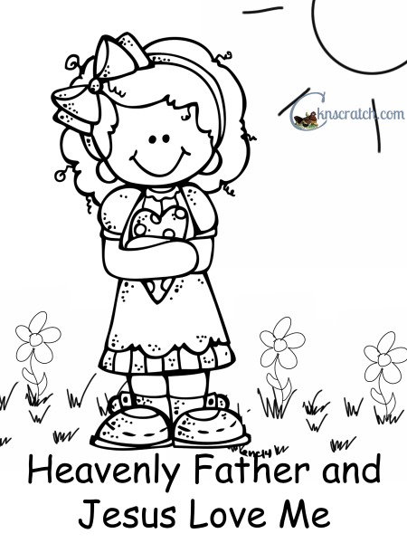 Love Me Jesus And Heavenly Father Coloring Page Sketch