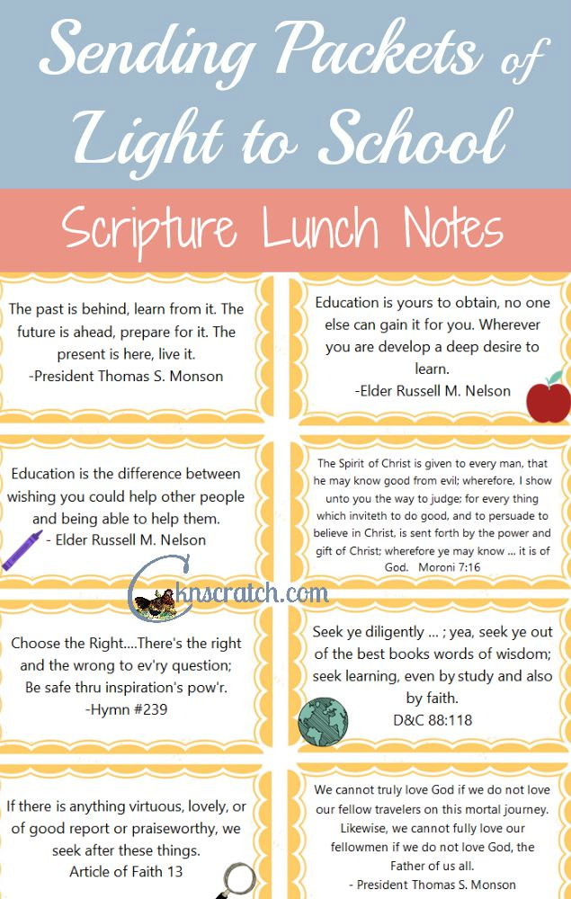 Such a good idea to send these scripture lunch box notes! Uplift and inspire.