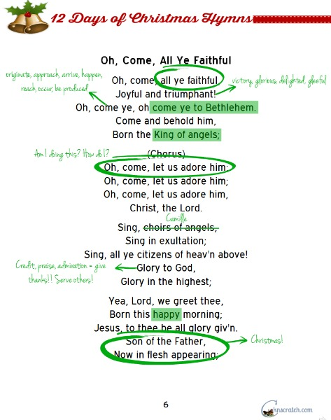 Love this idea for scripture study this month- study the Christmas hymns!