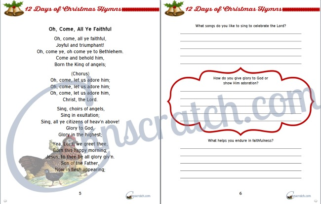 Sample of the 12 Days of Christmas Hymns study