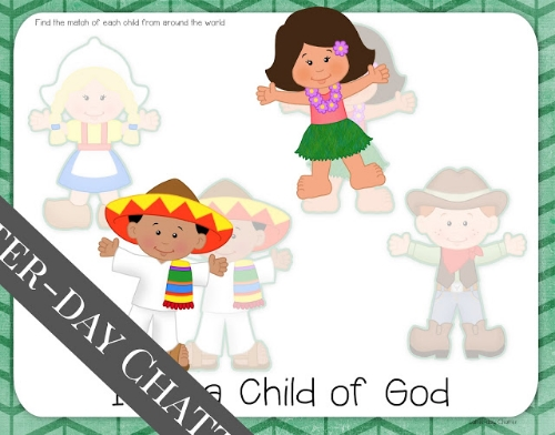 Great LDS handouts and lesson helps for Primary 1 Lesson 1: I am a child of God