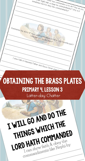 Great LDS Primary lesson helps and handouts for Primary 4 Lesson 3
