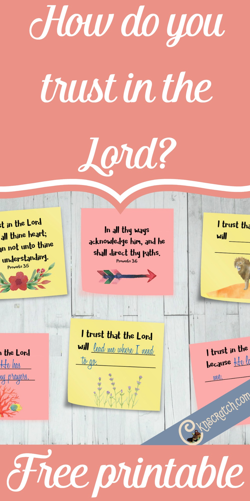 These post-its for Proverbs 3:5-6 are such a great idea. It would make a great FHE or personal study! Free printable