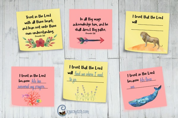 I love this post-it idea! Put them up as you strengthen your trust in the Lord- goes with Proverbs 3:5-6