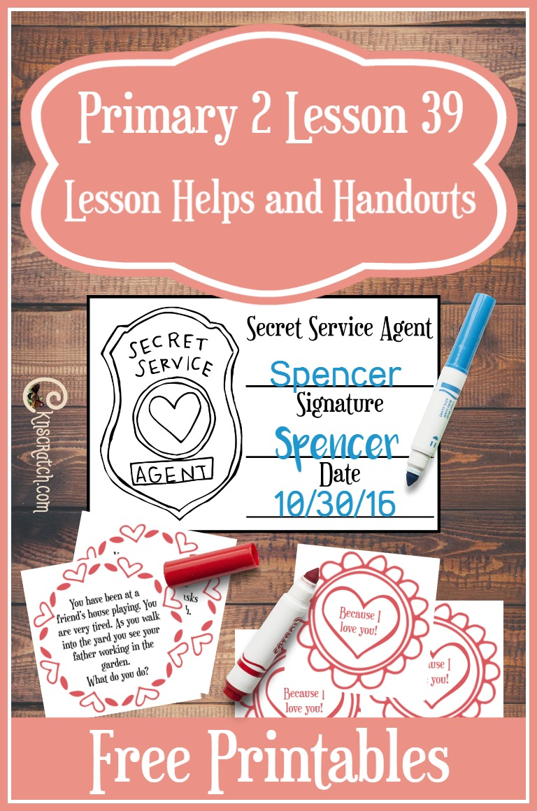 Love these Secret Service Agent cards for teaching Primary 2 Lesson 39: I can follow Jesus Christ by serving others