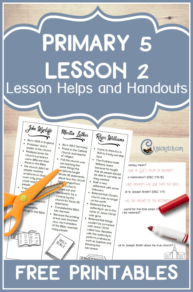 Best site for primary lessons- free handouts and ideas for Primary 5 Lesson 2: The Apostasy and the Need for the Restoration