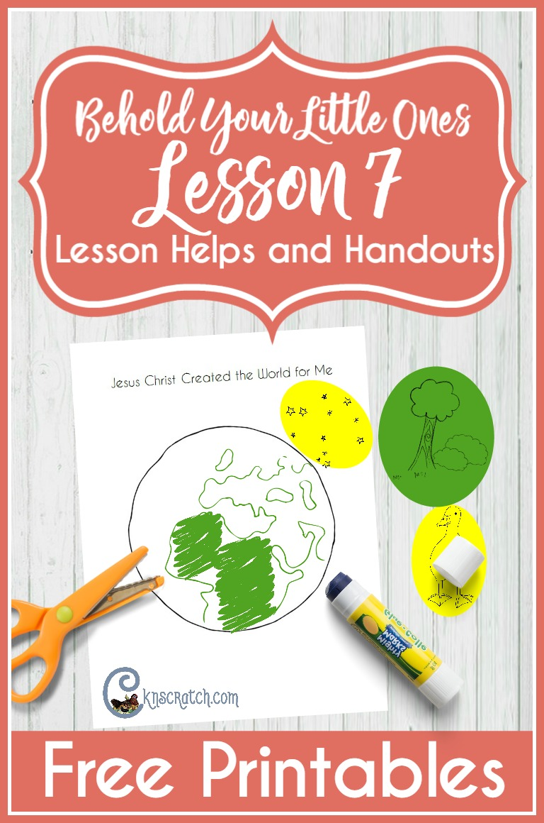 I love the texture version of this handout for Behold Your Little Ones Lesson 7- great idea! (Jesus Christ created the world for me)