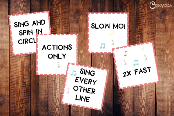Fun singing time cards for a Family Home Evening