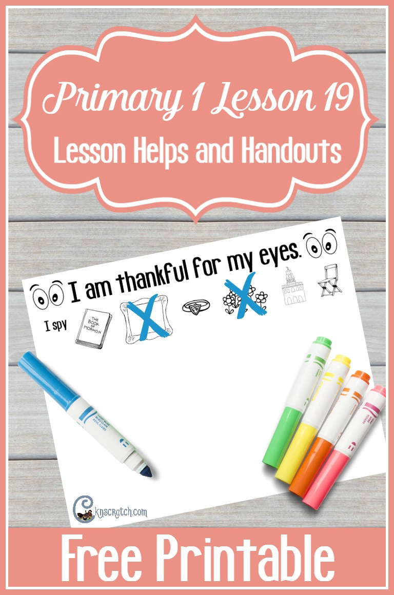 Fun ideas (and free printables) for LDS Primary 1 Lesson 19: I am thankful for my eyes