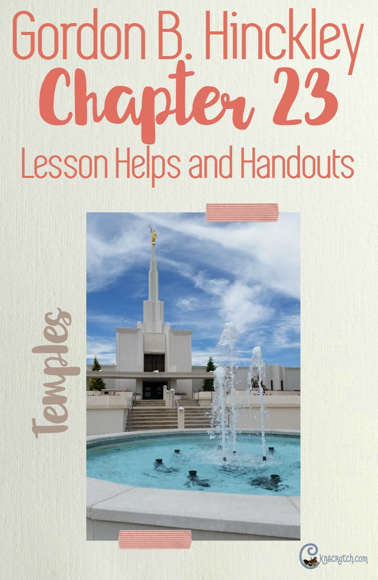 Seriously love this site- saves me every time. LDS lesson helps for teaching Gordon B. Hinckley Chapter 23: The Blessings of the Holy Temple