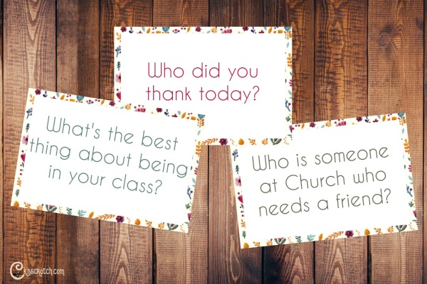 This is a great idea- question cards for after church