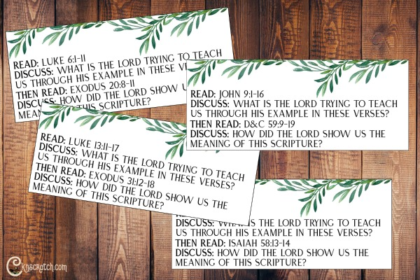 Scripture discussion cards to help teach Jesus Christ Is Our Example of Honoring the Sabbath