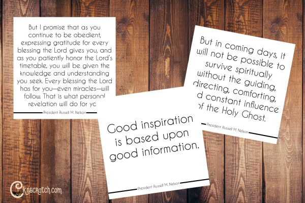 Free quote cards for President Nelson's talk on personal revelation