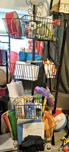 Back to School supply rack- love that idea