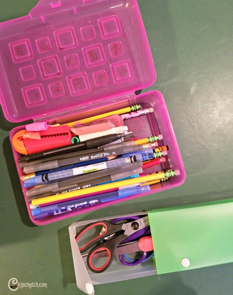 Easily organize back to school supplies needed throughout the year in pencil boxes