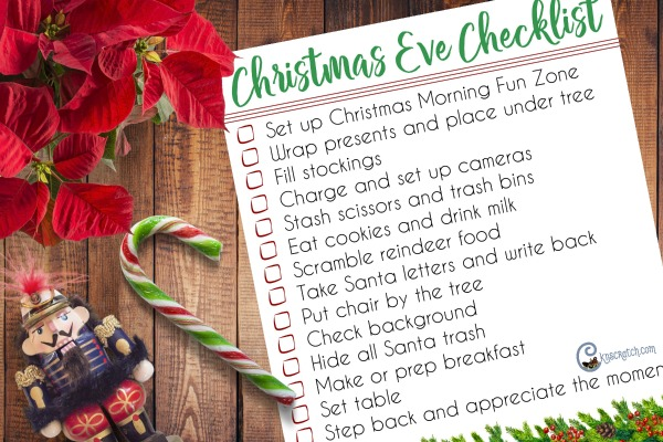 I need this! Christmas Eve Checklist- I always forget about the cookies until I'm in bed on Christmas. #Christmas #ChristmasEve #ChristmasChecklist #Cknscratch