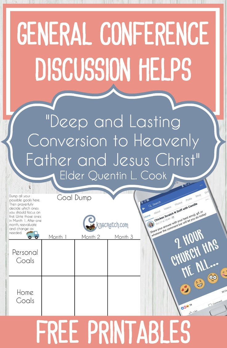 "How I love this site. Great ideas and free printables to leading a discussion on Elder Cook's General Conference talk from October 2018 ""Deep and Lasting Conversion to Heavenly Father and Jesus Christ"" #LatterdaySaint #GeneralConference #ElderCook"