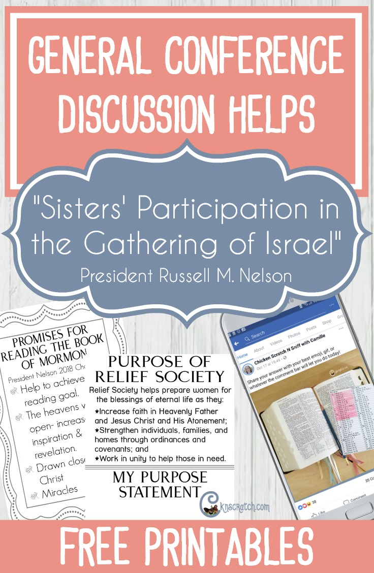 "I love this site and all the discussion ideas. This one is for ""Sisters' Participation in the Gather of Israel"" by President Russell M. Nelson #GeneralConference #LatterdaySaints #PresNelson"