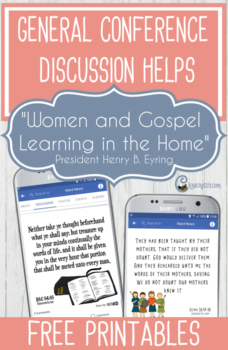 "Great ideas and helps for teaching President Henry B. Eyring's ""Women and Gospel Learning in the Home"" #GeneralConference #PresEyring #latterdaysaint"