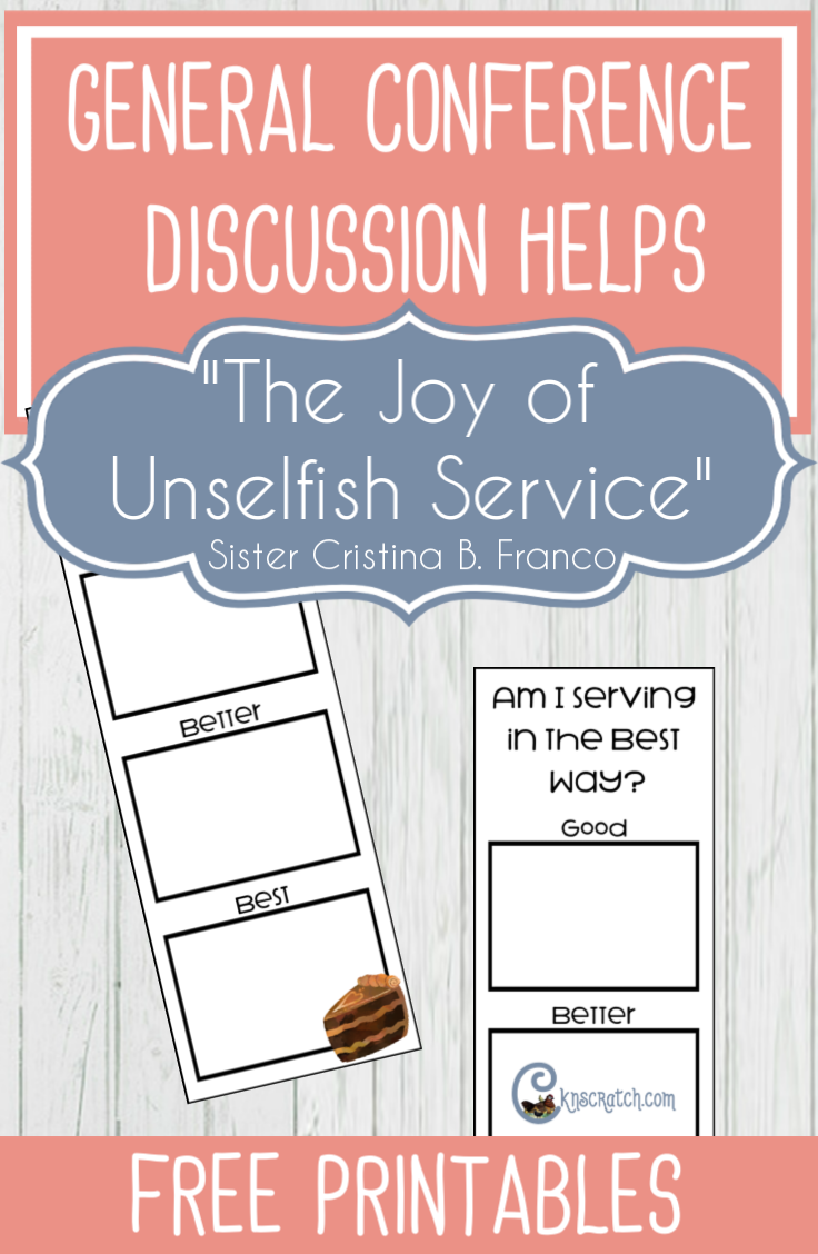 "Love this site- great ideas for discussing ""The Joy of Unselfish Service"" by Sister Cristina B. Franco #GeneralConference #LatterdaySaint #LIGHTtheWORLD #minister"