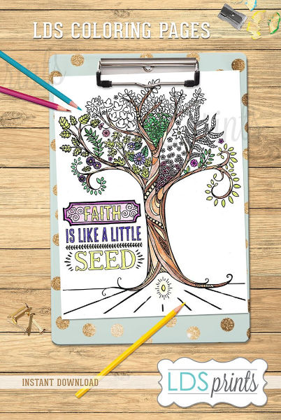 Love this coloring page- faith is like a little seed