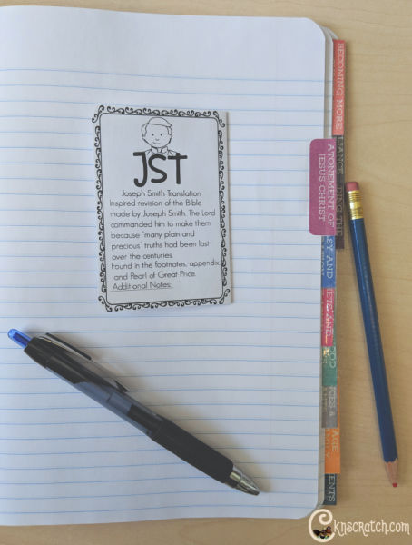 These Youth Come Follow Me lesson tabs are great for a church notebook!