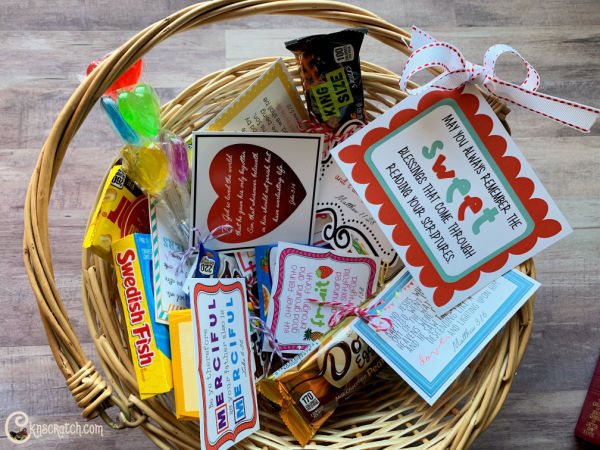 Love this basket of New Testament candy grams. Such a great ministering idea! #teachlikeachicken #ComeFollowMe #NewTestament