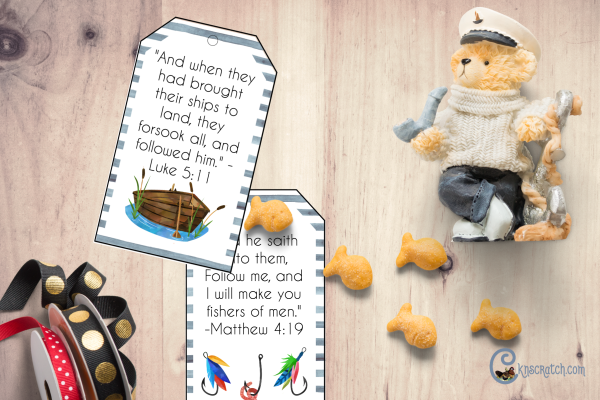 Free printable tags to discuss being fishers of men #teachlikeachicken