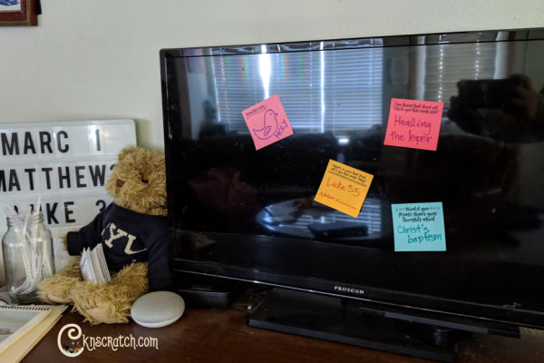 Love the idea of using sticky notes to teach at the New Testament at home! #teachlikeachicken