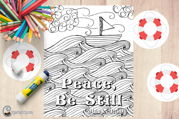 "Love this scripture ""Peace, Be Still"" Great free coloring page and activity to go with Matthew 8:23-27 #teachlikeachicken"