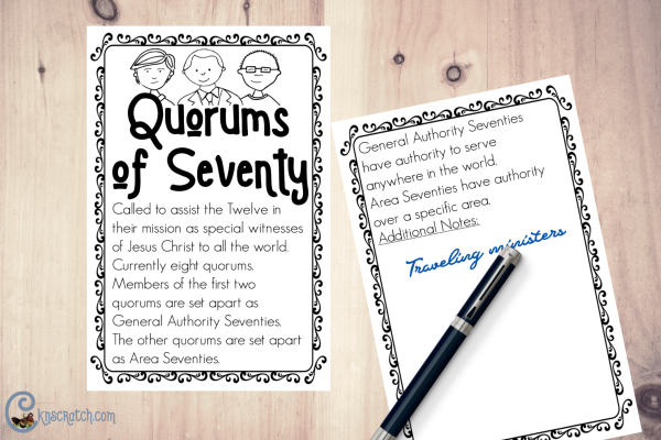 Great info card about the Quorums of the Seventy plus more Come Follow Me helps for families #teachlikeachicken #LDS #ComeFollowMe