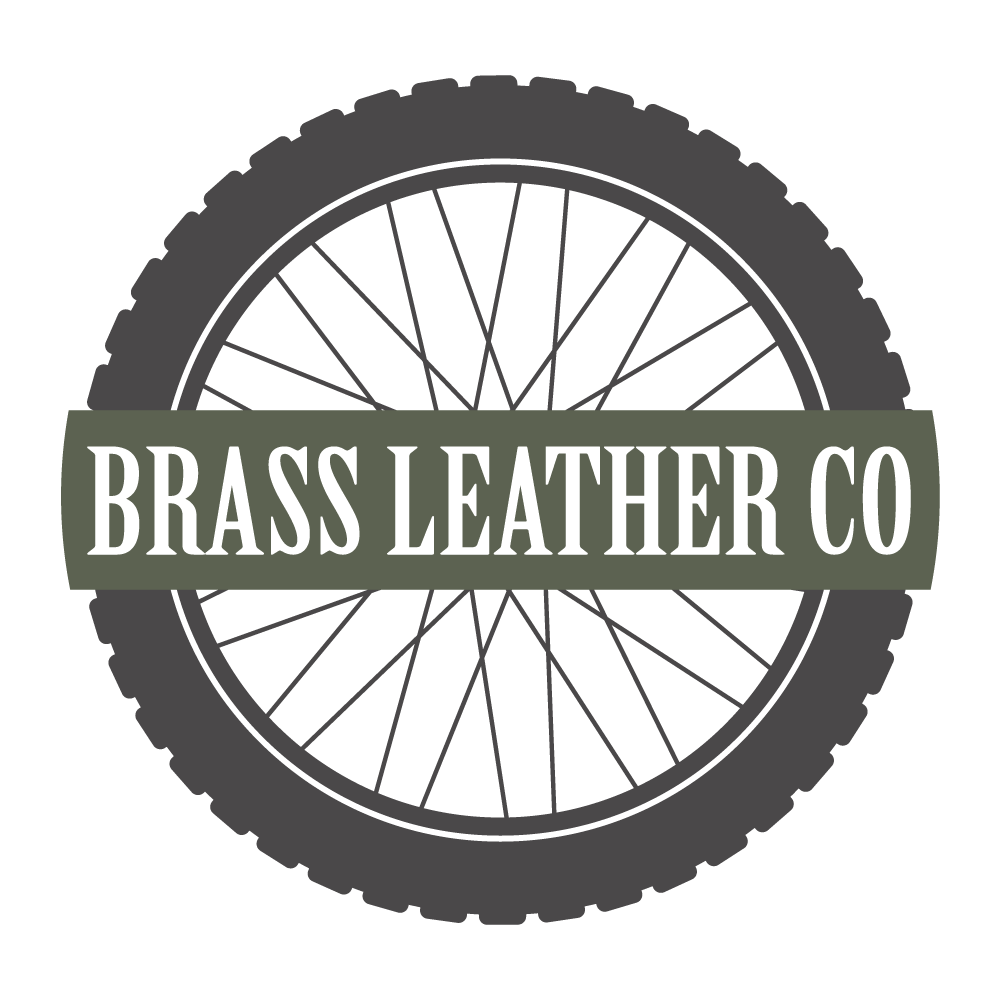 Brass Leather CO - Logo, website and product design. Small back motorcycle luggage.