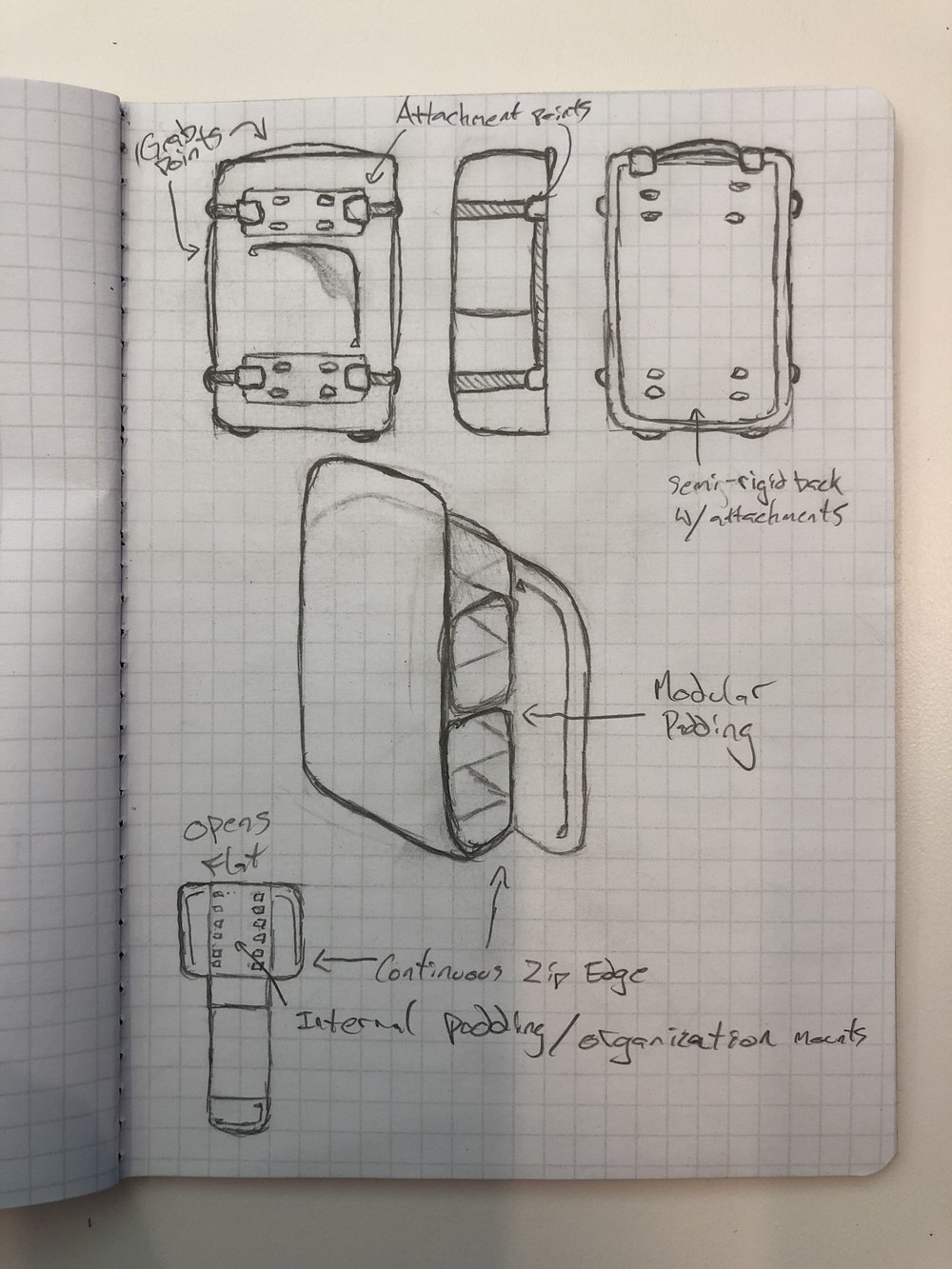 Multipurpose Backpack: Carry component initial sketches
