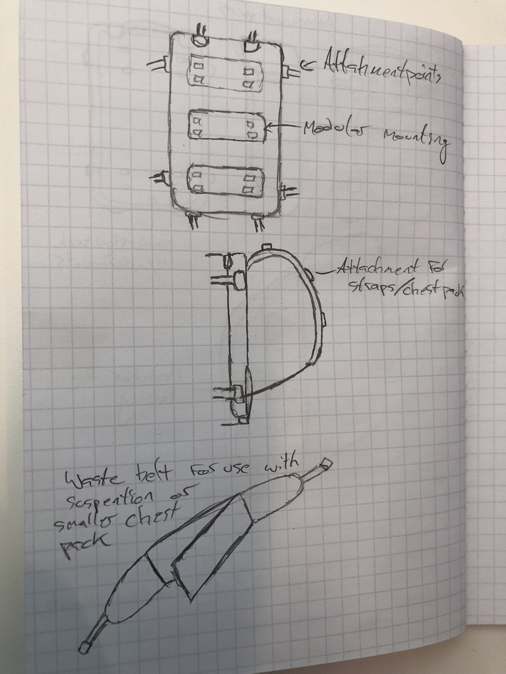 Multipurpose Backpack: Suspension components initial sketches
